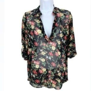 Black Floral Blouse with Adjustable Sleeves